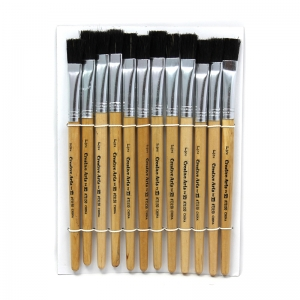 BRUSHES STUBBY EASEL FLAT 1/2IN  NATURAL BRISTLE 12CT