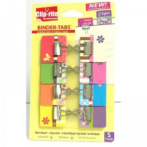 BINDER TABS 8PK SPRING COLLECTION  WITH X SMALL CLIPS