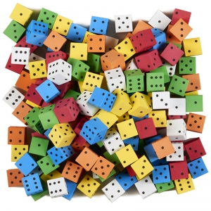 16MM COLOR SPOT FOAM DICE 200 COUNT  ASSORTED