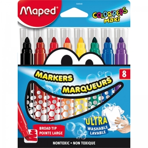 BROAD TIP MARKERS 8 COLOR SET  ULTRA WASHABLE