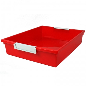 6QT RED TATTLE TRAY W LABEL HOLD