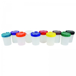10CT NO SPILL PAINT CUP ASSORTMENT  IN BAG
