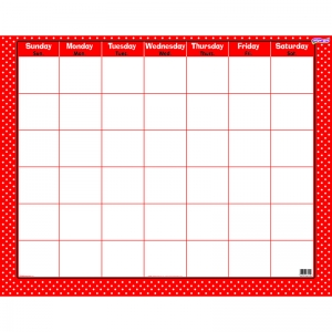POLKA DOTS RED WIPE OFF CALENDAR  MONTHLY
