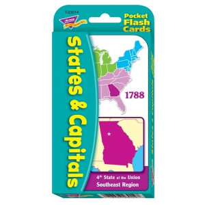 POCKET FLASH CARDS 56-PK STATES AND  CAPITALS 3 X 5 TWO-SIDED CARDS