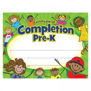 PRE K CERTIFICATE OF COMPLETION