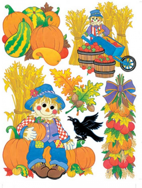 WINDOW CLING HARVEST SCARECROWS