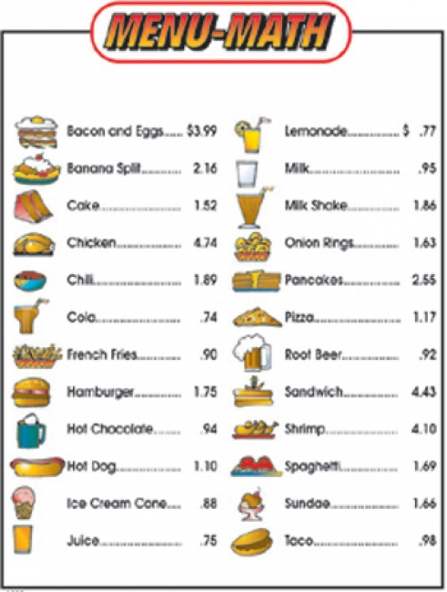 MENU MATH FOR BEGINNERS 6PK EXTRA  PRICE LISTS