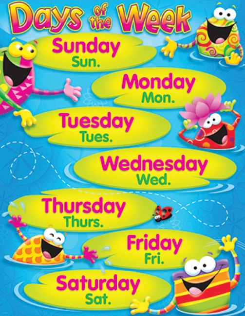 DAYS OF THE WEEK FROG-TASTIC  LEARNING CHART