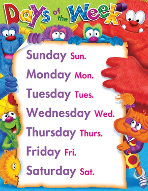 DAYS OF THE WEEK FURRY FRIENDS  LEARNING CHART