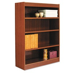 Square Corner Wood Bookcase, Four-Shelf, 35-5/8w x 11-3/4d x 48h, Medium Cherry