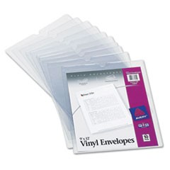 Top-Load Clear Vinyl Envelopes w/Thumb Notch, 9� x 12�, Clear, 10/Pack