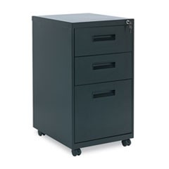Three-Drawer Metal Pedestal File, 16w x 19-1/2d x 28-1/2h, Black