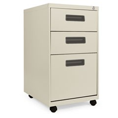 Three-Drawer Metal Pedestal File, 16w x 19-1/2d x 28-1/2h, Putty
