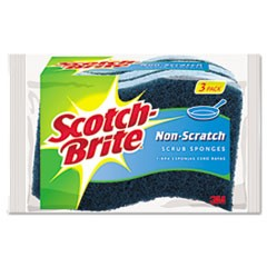 Non-Scratch Multi-Purpose Scrub Sponge, 4 2/5 x 2 3/5, Blue, 3/Pack