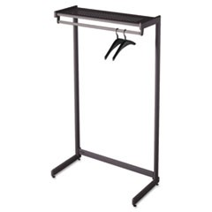 "Single-Side Garment Rack w/Shelf, Powder Coated Textured Steel, 36"" Wide, Black"