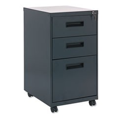 Three-Drawer Metal Pedestal File, 16w x 19-1/2d x 28-1/2h, Charcoal