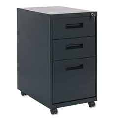 Three-Drawer Metal Pedestal File, 16w x 23-1/4d x 28-1/2h, Black
