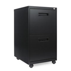 Two-Drawer Metal Pedestal File, 16w x 19-1/2d x 28-1/2h, Black