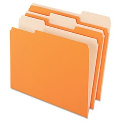 Colored File Folders, 1/3 Cut Top Tab, Letter, Orange/Light Orange, 100/Box