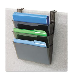Three-Pocket File Partition Set with Brackets, Letter, Smoke