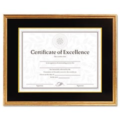 Hardwood Document/Certificate Frame w/Mat, 11 x 14, 8 1/2 x 11, Antiqued Gold