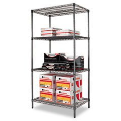 Wire Shelving Starter Kit, Four-Shelf, 36w x 24d x 72h, Black Anthracite