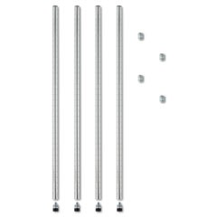 "Stackable Posts For Wire Shelving, 36"" High, Silver, 4/Pack"
