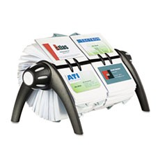 VISIFIX Duo Rotary Business/Address File Holds 800 4 1/8 x 2 7/8 Cards, Black
