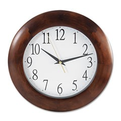 "Round Wood Clock, 12 3/4"", Cherry"