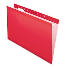 Reinforced Hanging Folders, 1/5 Tab, Legal, Red, 25/Box