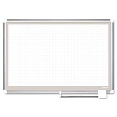 All Purpose Porcelain Dry Erase Planning Board, 1 x 1 Grid, 36 x 24, Aluminum