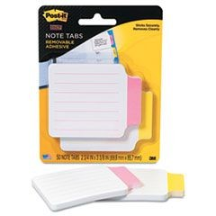 Super Sticky Removable Note Tabs, 3 3/8 x 2 3/4, 25/pad, 2 pads/PK, Red/Yellow