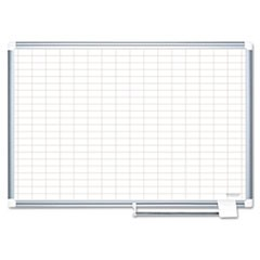 Gridded Magnetic Porcelain Planning Board, 1 x 2 Grid, 36 x 24, Aluminum Frame
