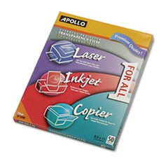 Color Laser/Inkjet Transparency Film, Letter, Clear, 50/Box