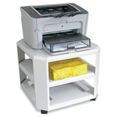 Mobile Printer Stand, Three-Shelf, 17-4/5w x 17-4/5d x 14-3/4h, Platinum
