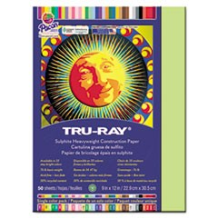 Tru-Ray Construction Paper, 76 lbs., 9 x 12, Chartreuse, 50 Sheets/Pack