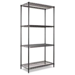 Industrial Heavy-Duty Wire Shelving Starter Kit, 4-Shelf, 36w x 18d x 72h, Black