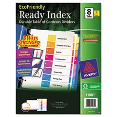 Ready Index Customizable Table of Contents, Asst Dividers, 8-Tab, Ltr, 3 Sets
