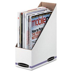 Corrugated Cardboard Magazine File, 4 x 9 1/4 x 11 3/4, White, 12/Carton