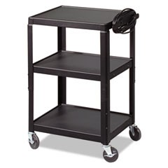 Adjustable Steel Utility Cart, 24w x 18d x 26 to 42h, Black