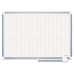 Gridded Magnetic Porcelain Planning Board, 1 x 2 Grid, 48 x 36, Aluminum Frame