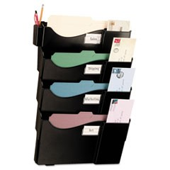 Grande Central Wall Filing System, Four Pockets, 16 5/8 x 4 3/4 x 23 1/4, Black
