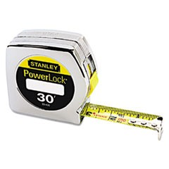 "Powerlock Tape Rule, 1"" x 30ft, Plastic Case, Chrome, 1/16"" Graduation"