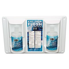 "Twin Bottle Eye Flush Station w/Two 16oz Bottles, 3.75""D x 13.5""H x 16.5""W"