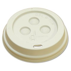 Hot Cup Dome Lids, Fits 8oz Cups, White, 100/Sleeve, 10 Sleeves/Carton