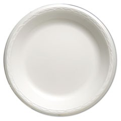 "Foam Dinnerware, Plate, 10 1/4"" dia, White, 125/Pack, 4 Packs/Carton"