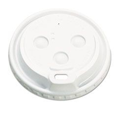 Hot Cup Dome Lids, Fits 10-20oz Cups, White, 100/Sleeve, 10 Sleeves/Carton