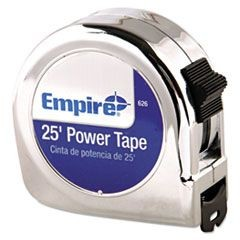 "Power Tape Measure, 1"" x 25ft, Metal Case, Chrome, 1/16"" Graduation"