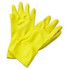 Flock-Lined Latex Cleaning Gloves, X-Large, Yellow, 12 Pairs