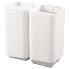 Snap-it Foam Hinged Lid Containers, 1-Comp, 9 1/4 x 9 1/4 x 3, White, 200/Carton